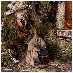 Cabana completa Natividade com fonte e figuras altura média 12 cm presépio napolitano 30x47x26 cm s4