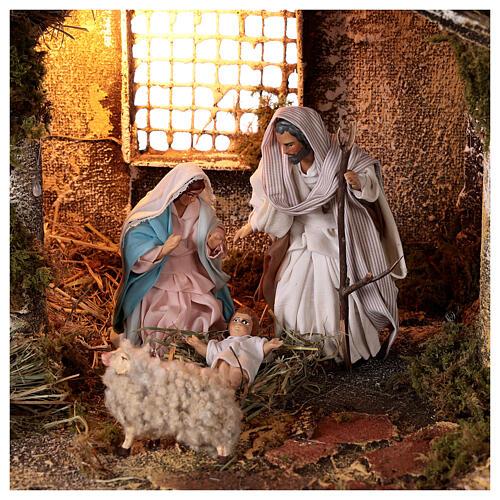 Cabana completa Natividade com fonte e figuras altura média 12 cm presépio napolitano 30x47x26 cm 2