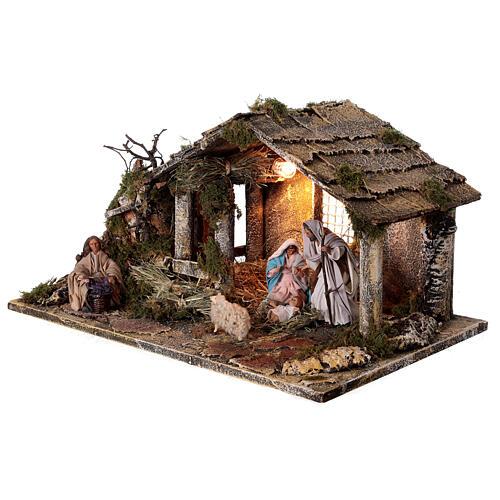 Cabana completa Natividade com fonte e figuras altura média 12 cm presépio napolitano 30x47x26 cm 3