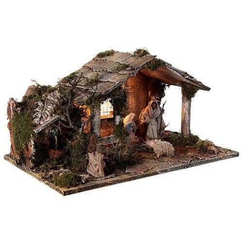 Cabana completa Natividade com fonte e figuras altura média 12 cm presépio napolitano 30x47x26 cm 5