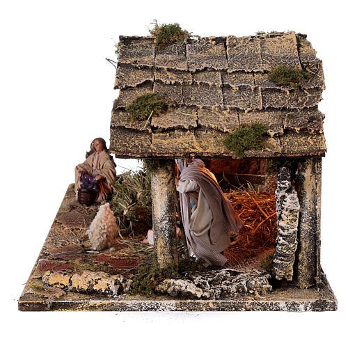 Cabana completa Natividade com fonte e figuras altura média 12 cm presépio napolitano 30x47x26 cm 6