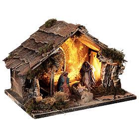 Stable with Holy Family set 8 cm window Neapolitan nativity 20x30x20 cm s4