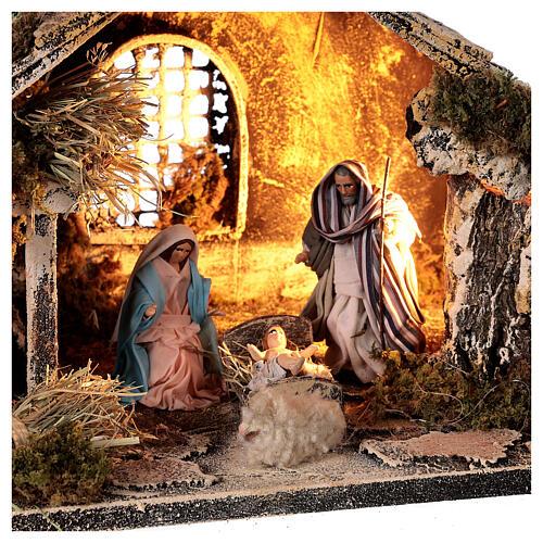 Capanna Sacra Famiglia 8 cm finestra presepe napoletano 20x30x20 cm 2
