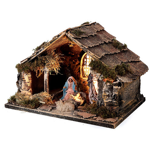 Capanna Sacra Famiglia 8 cm finestra presepe napoletano 20x30x20 cm 3