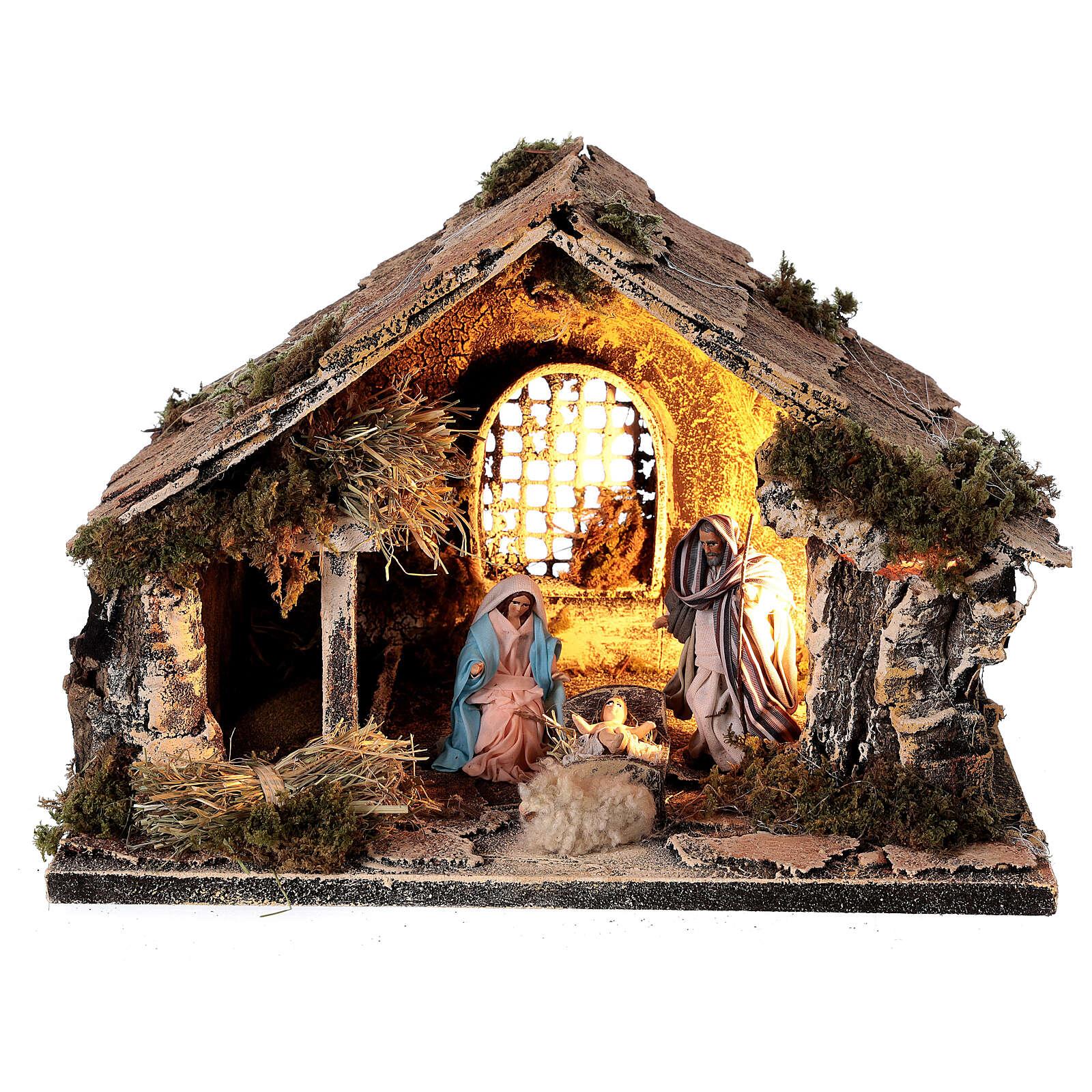 Cabana com janela Sagrada Família figuras altura média 8 cm presépio napolitano 22x30x20 cm 4
