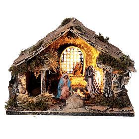 Cabana com janela Sagrada Família figuras altura média 8 cm presépio napolitano 22x30x20 cm s1