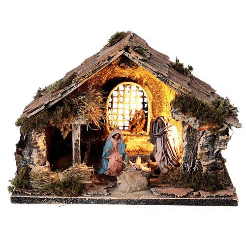 Cabana com janela Sagrada Família figuras altura média 8 cm presépio napolitano 22x30x20 cm 1