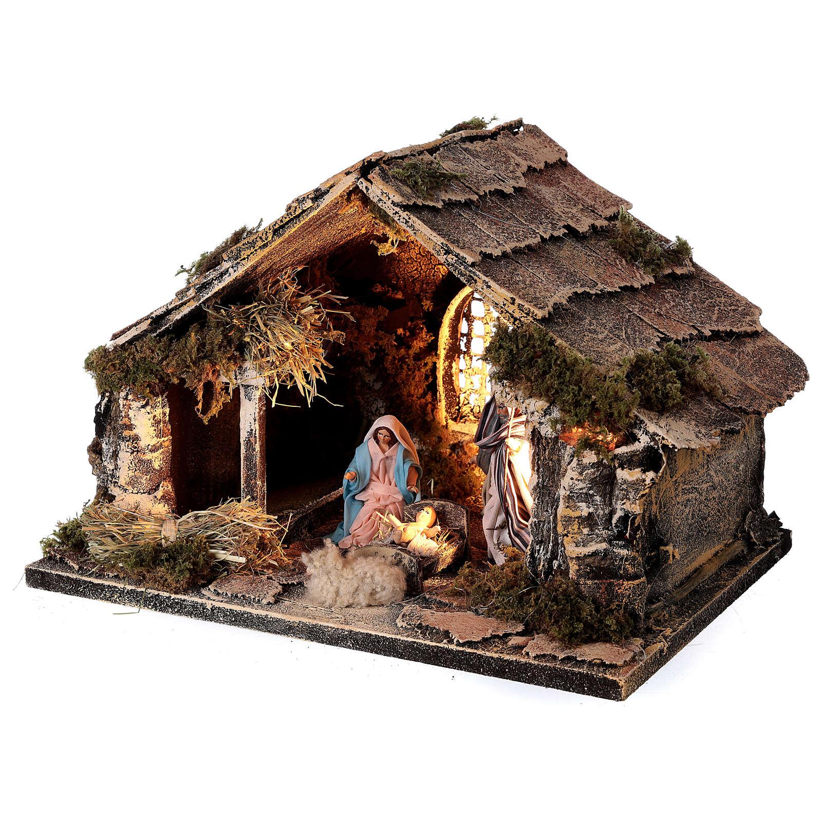 Stable with Holy Family set 8 cm window Neapolitan nativity 20x30x20 cm 4