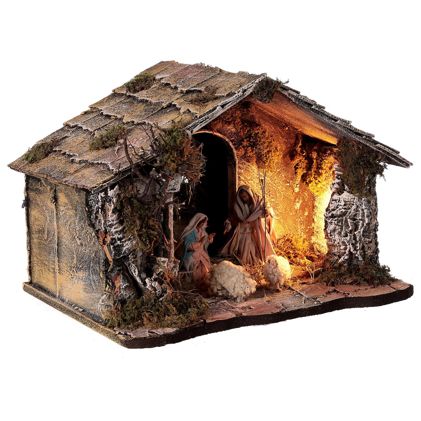Cabana Natividade telhado inclinado musgo e cortiça com figuras altura média 12 cm presépio napolitano 27x30x40 cm 4
