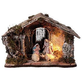Cabana Natividade telhado inclinado musgo e cortiça com figuras altura média 12 cm presépio napolitano 27x30x40 cm s1