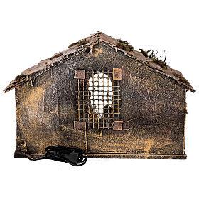 Cabana Natividade telhado inclinado musgo e cortiça com figuras altura média 12 cm presépio napolitano 27x30x40 cm s5