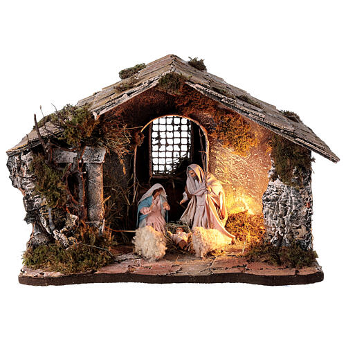 Cabana Natividade telhado inclinado musgo e cortiça com figuras altura média 12 cm presépio napolitano 27x30x40 cm 1