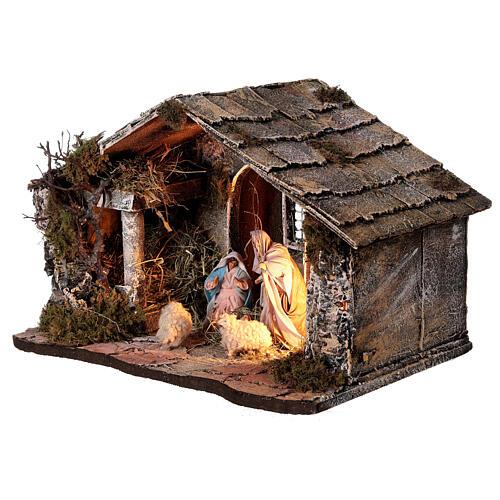 Cabana Natividade telhado inclinado musgo e cortiça com figuras altura média 12 cm presépio napolitano 27x30x40 cm 3