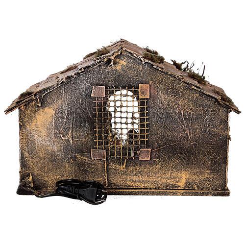 Cabana Natividade telhado inclinado musgo e cortiça com figuras altura média 12 cm presépio napolitano 27x30x40 cm 5
