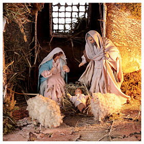 Nativity stable with sloped roof Holy Family 12 cm statues Neapolitan nativity 30x30x40 cm s2