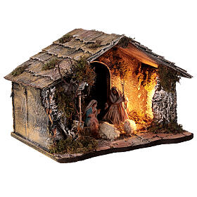 Nativity stable with sloped roof Holy Family 12 cm statues Neapolitan nativity 30x30x40 cm s4
