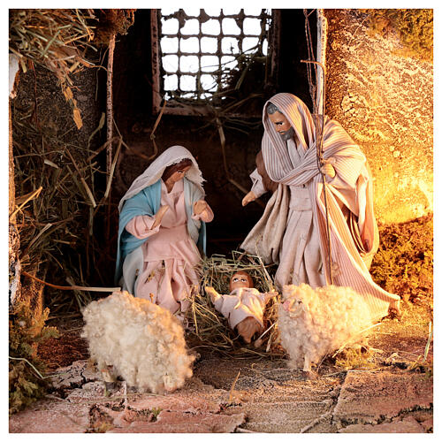 Nativity stable with sloped roof Holy Family 12 cm statues Neapolitan nativity 30x30x40 cm 2