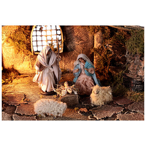 Rustic nativity stable 10 cm Neapolitan nativity statues 30x50x20 cm 2