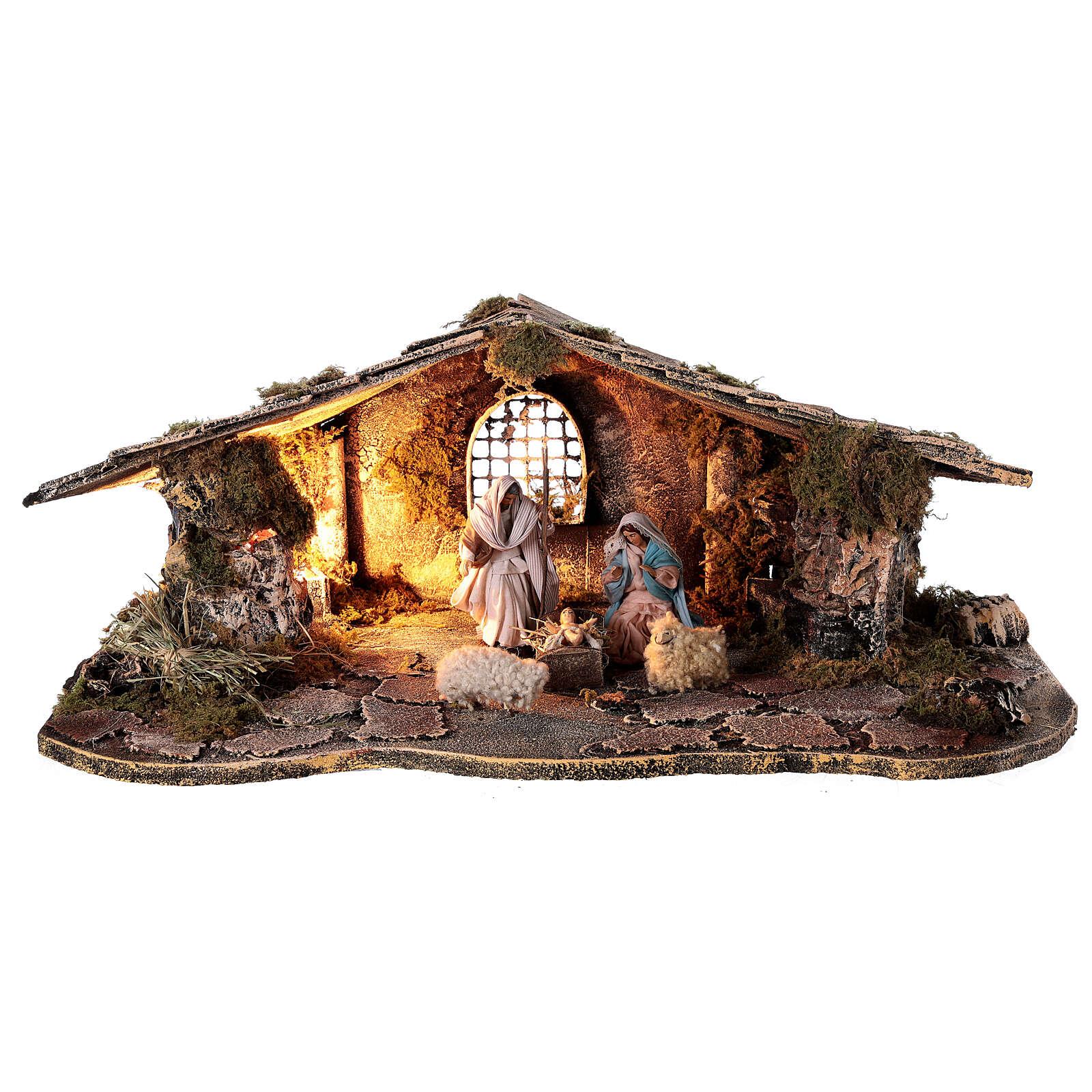 Cabaña rústica belén napolitano estatuas terracota 10 cm 30x50x20 cm 4