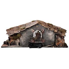 Cabaña rústica belén napolitano estatuas terracota 10 cm 30x50x20 cm s6