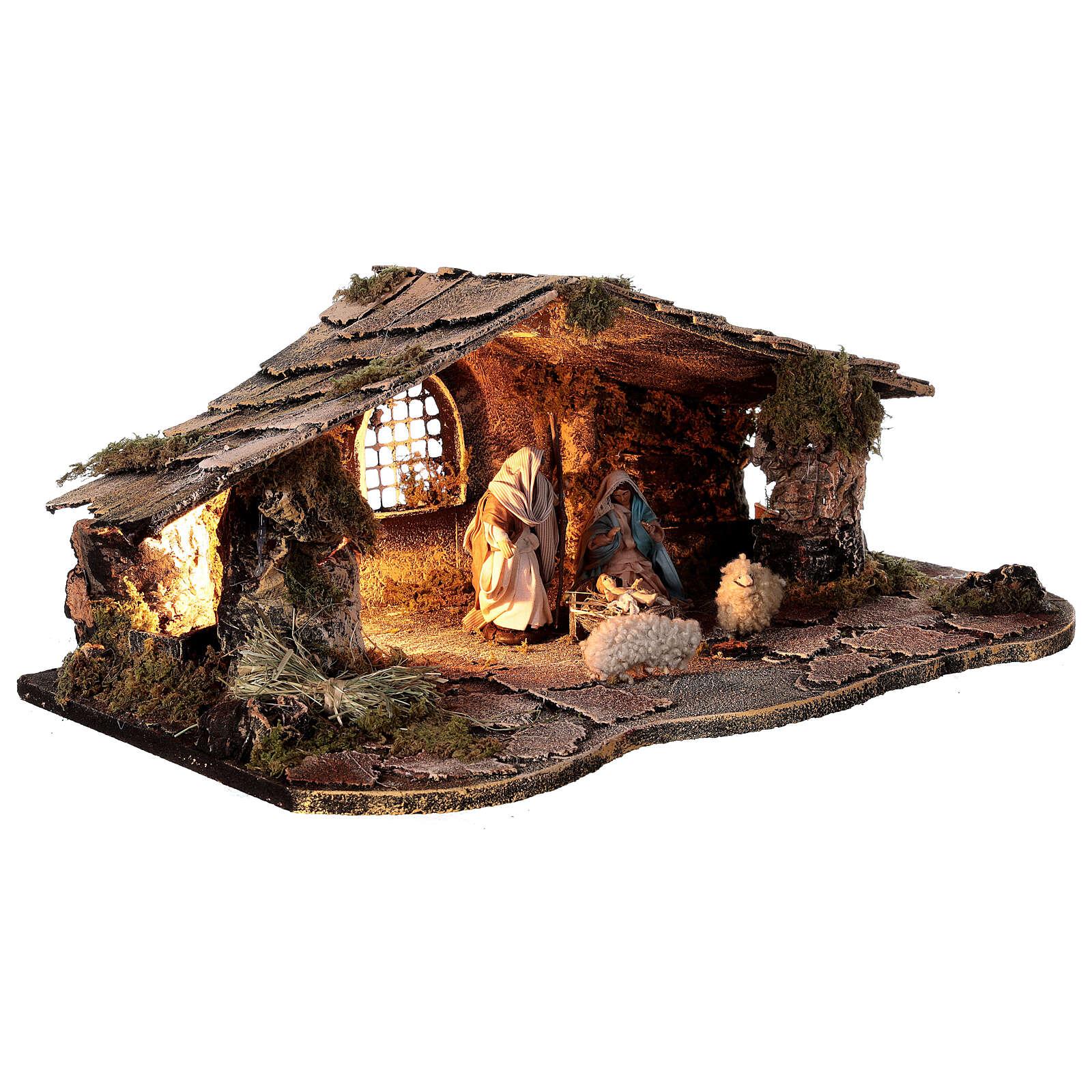 Cabana estilo rústico presépio napolitano figuras terracota altura média 10 cm, 29x50x19 cm 4