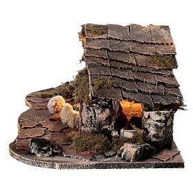 Cabana estilo rústico presépio napolitano figuras terracota altura média 10 cm, 29x50x19 cm s4