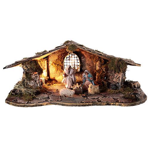Cabana estilo rústico presépio napolitano figuras terracota altura média 10 cm, 29x50x19 cm 1