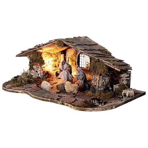 Cabana estilo rústico presépio napolitano figuras terracota altura média 10 cm, 29x50x19 cm 3