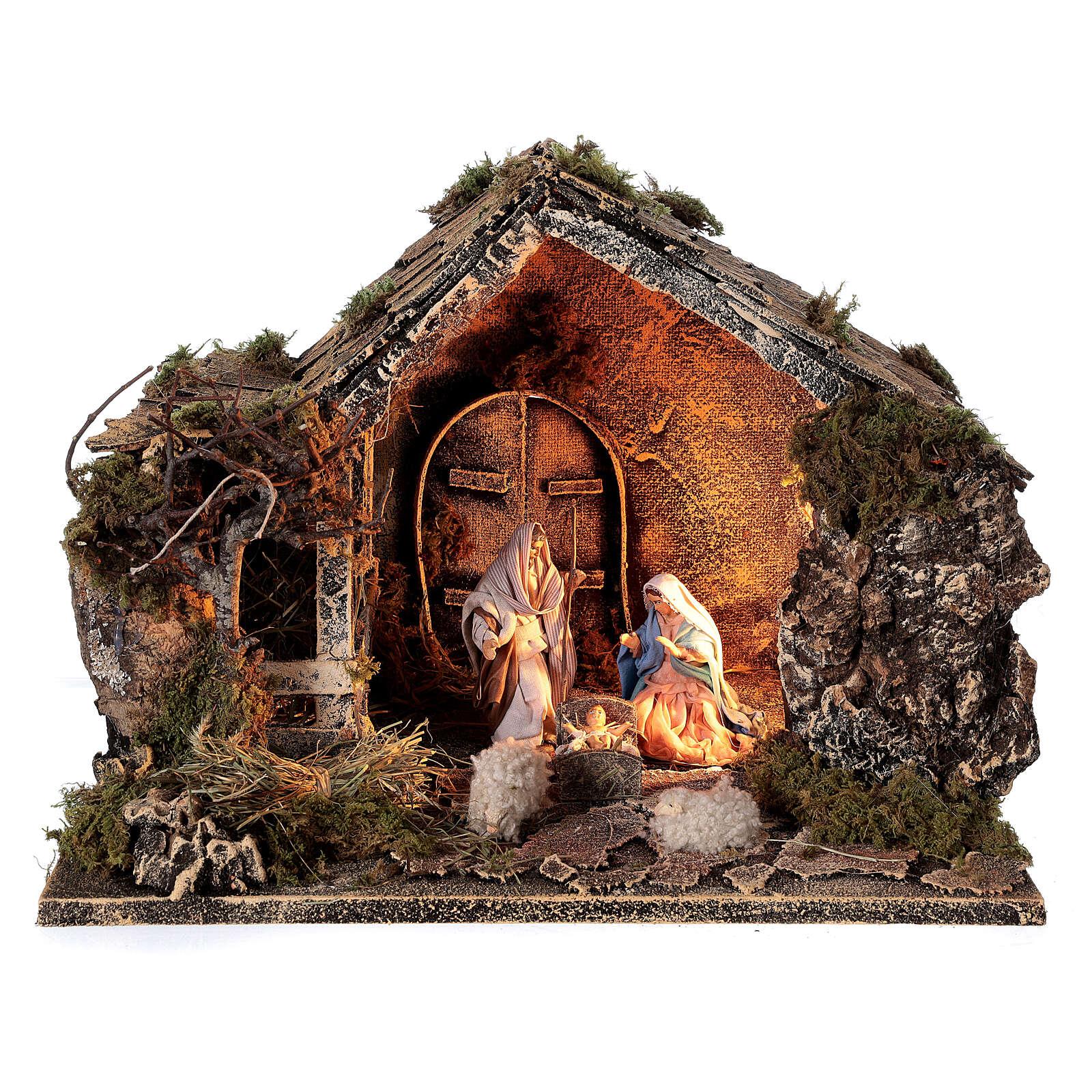 Capanna Natività fienile statue 10 cm presepe napoletano 30x35x25 cm 4