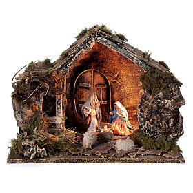 Cabana Natividade celeiro figuras altura média 10 cm presépio napolitano 30x36x27 cm s1