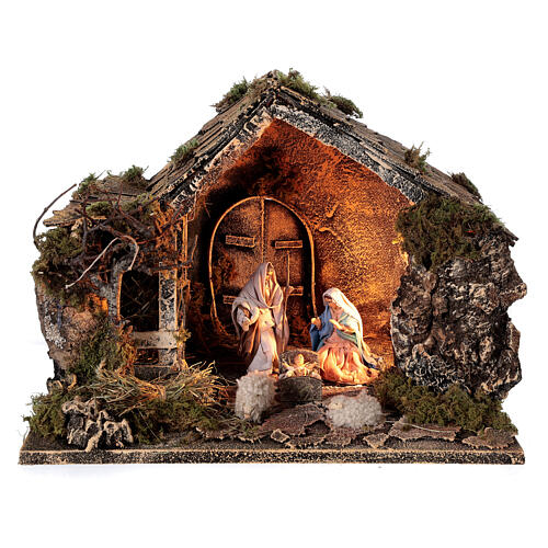 Cabana Natividade celeiro figuras altura média 10 cm presépio napolitano 30x36x27 cm 1