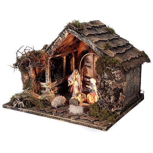 Cabana Natividade celeiro figuras altura média 10 cm presépio napolitano 30x36x27 cm 3