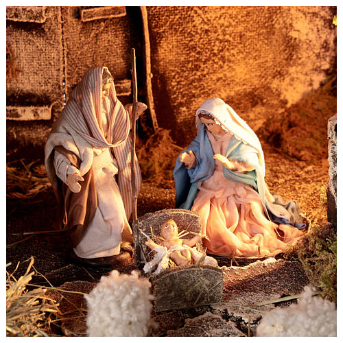 Nativity stable with Holy Family 10 cm Neapolitan nativity 30x35x25 cm 2