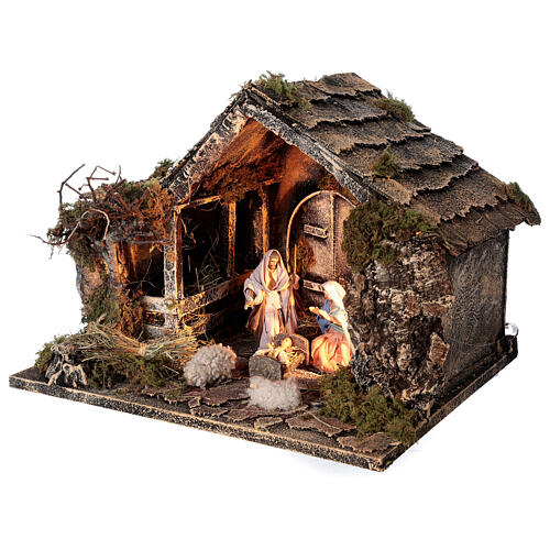 Nativity stable with Holy Family 10 cm Neapolitan nativity 30x35x25 cm 3