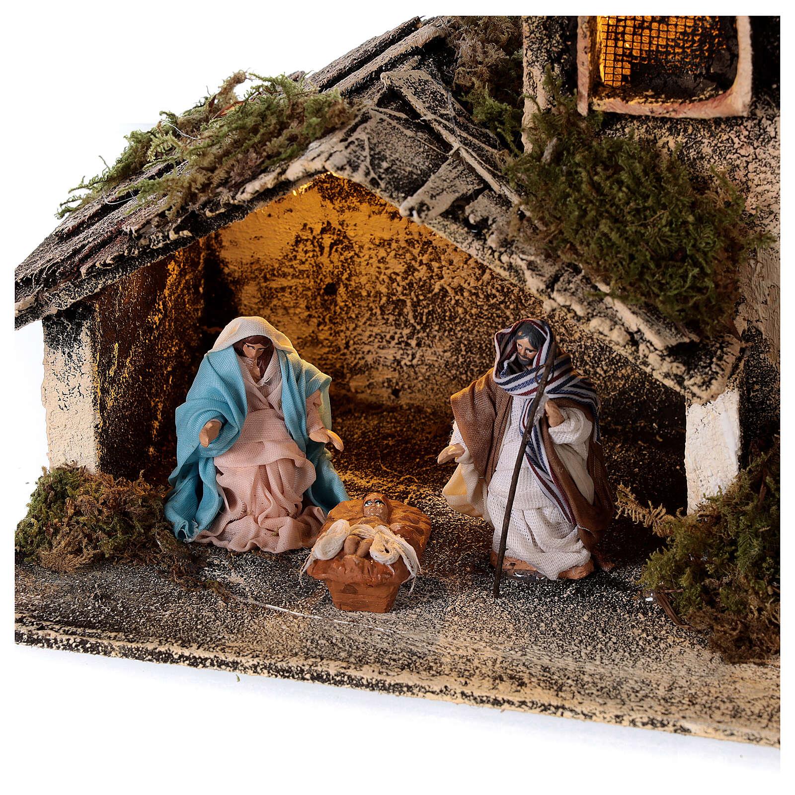 Cabane berger émerveillé crèche napolitaine santons 6 cm 15x25x15 cm 4