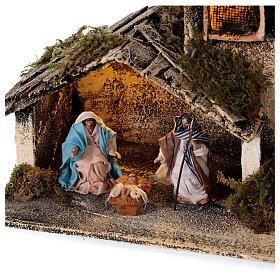 Cabana Natividade com pastor maravilhado presépio napolitano figuras altura média 6 cm, 17x25x13 cm s2