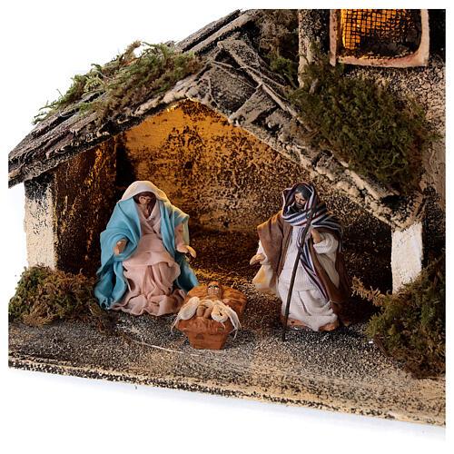Cabana Natividade com pastor maravilhado presépio napolitano figuras altura média 6 cm, 17x25x13 cm 2