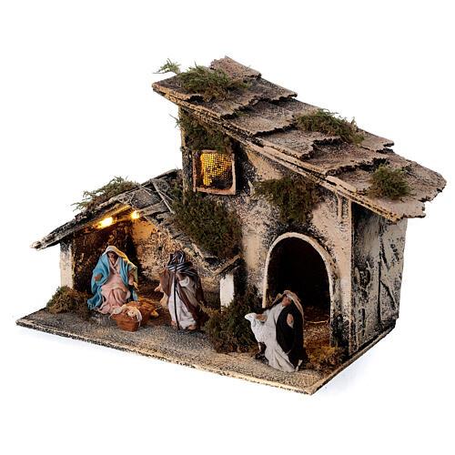 Cabana Natividade com pastor maravilhado presépio napolitano figuras altura média 6 cm, 17x25x13 cm 3