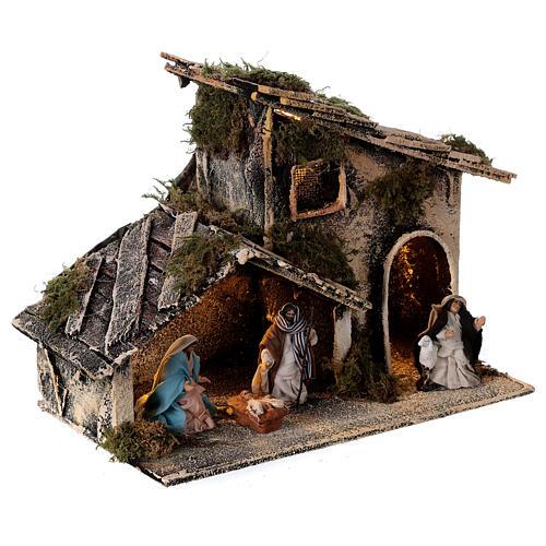 Cabana Natividade com pastor maravilhado presépio napolitano figuras altura média 6 cm, 17x25x13 cm 4