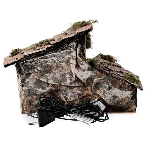Cabana Natividade com pastor maravilhado presépio napolitano figuras altura média 6 cm, 17x25x13 cm 5