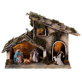 Stable for nativity with shepherd and Holy Family set 6 cm Neapolitan 15x25x15 cm s1