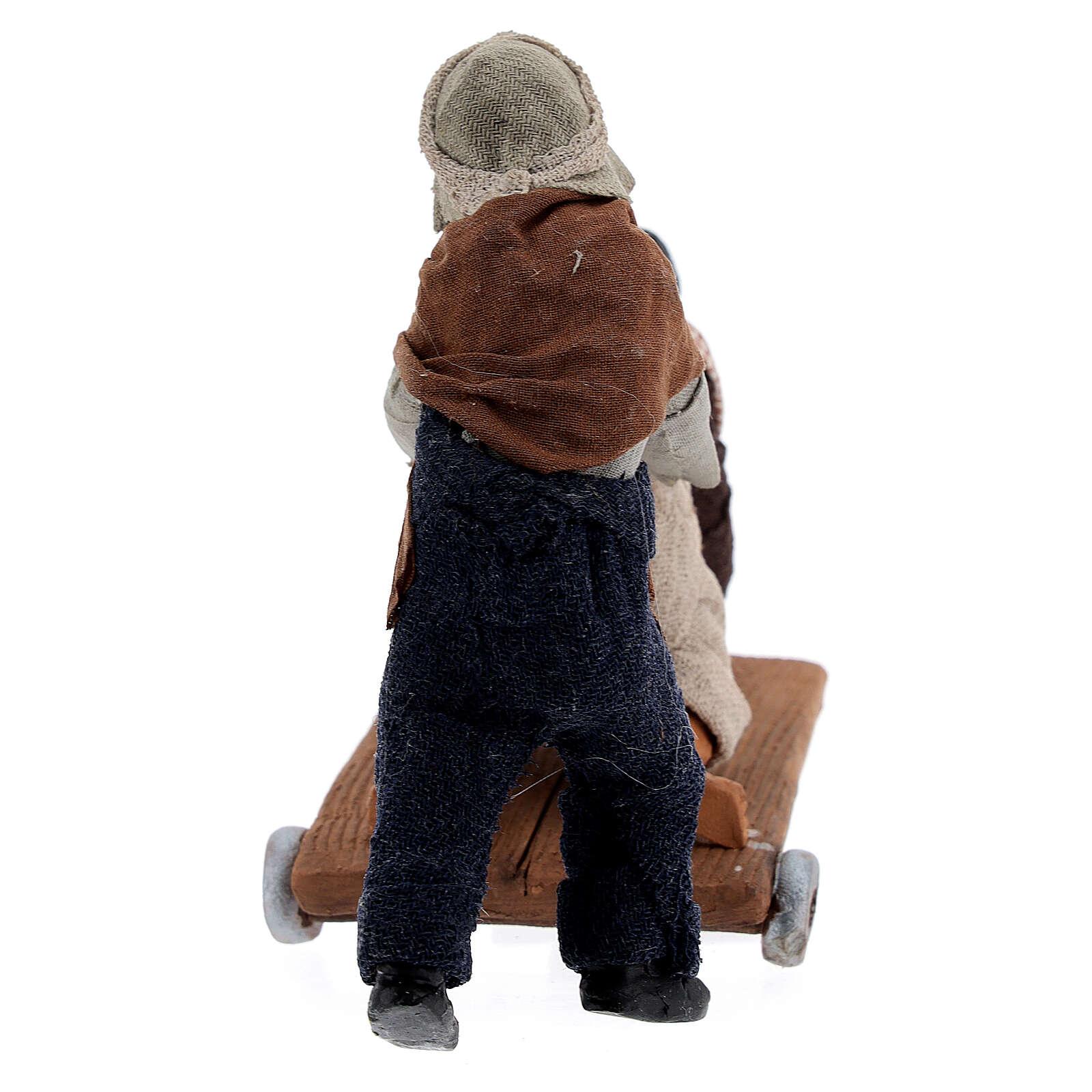Scène enfants charrette crèche napolitaine 13 cm 4