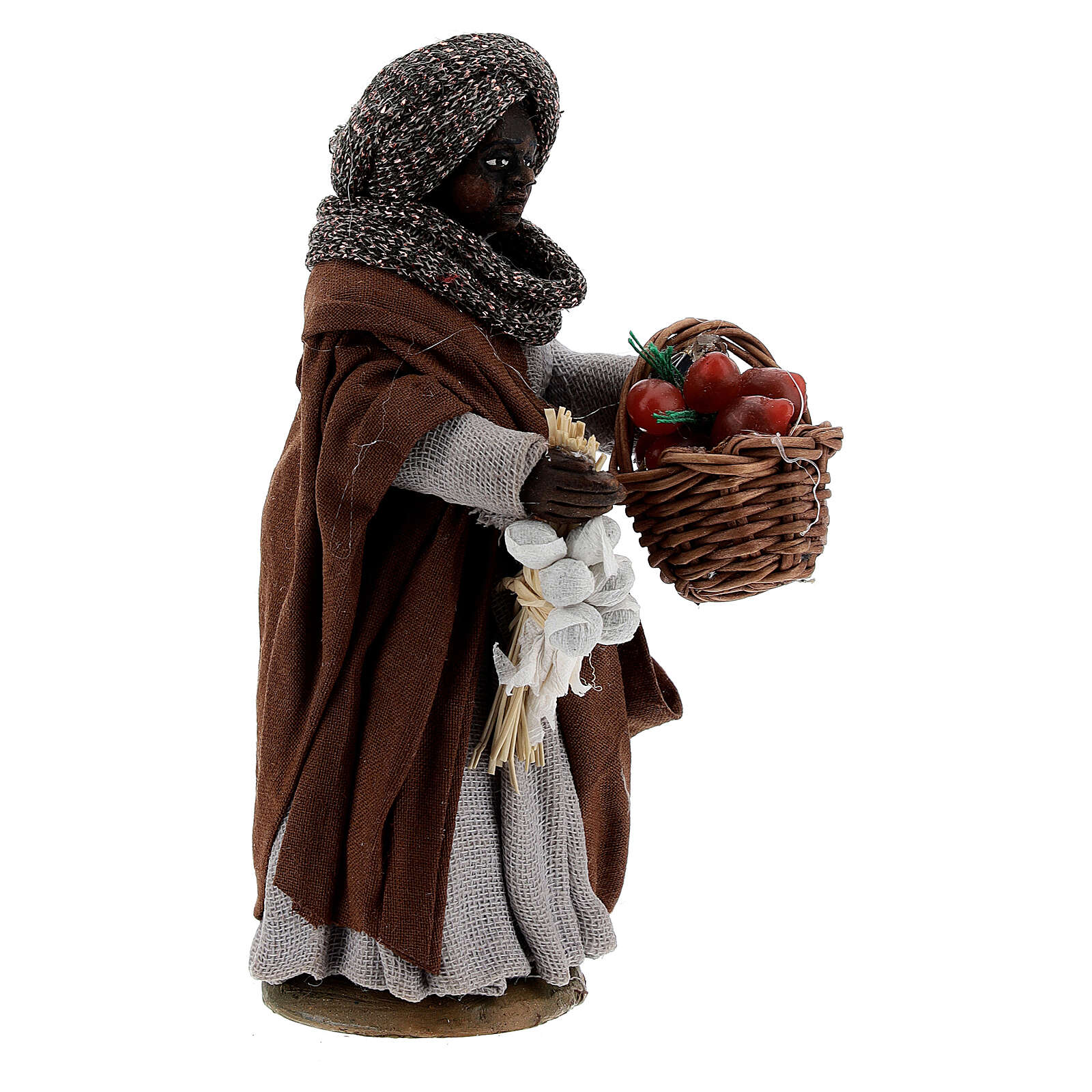 Gypsy woman with tomato basket statue, Naples nativity 10 cm 4