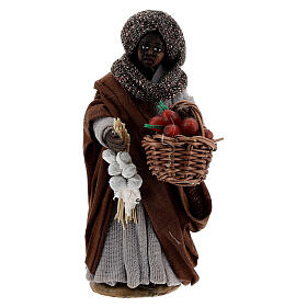 Gypsy woman with tomato basket statue, Naples nativity 10 cm s1