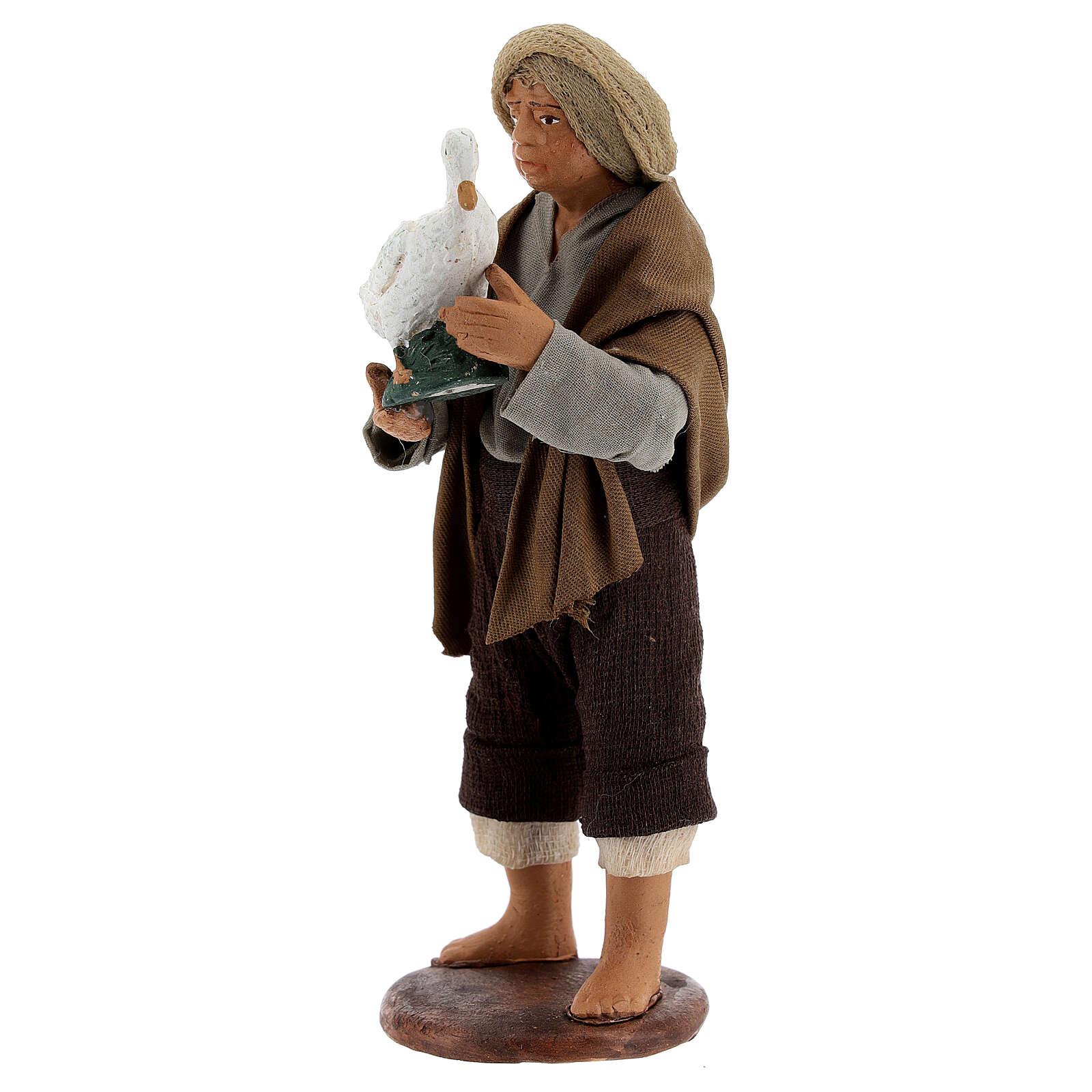 Berger avec oie crèche napolitaine 13 cm 4