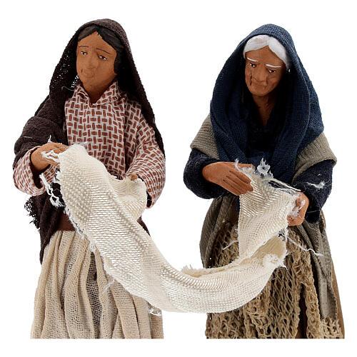 Femmes avec drap crèche napolitaine 13 cm 2