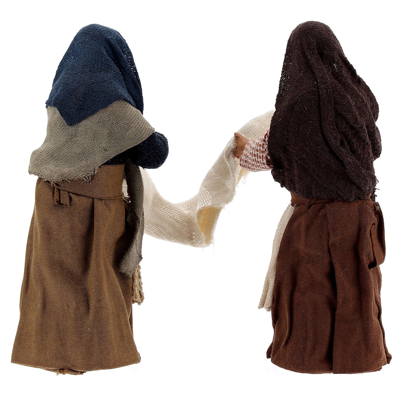Donne con lenzuolo presepe napoletano 13 cm 4