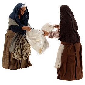 Donne con lenzuolo presepe napoletano 13 cm s3