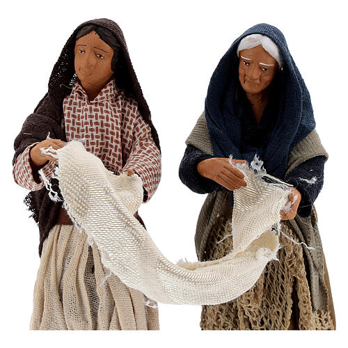 Donne con lenzuolo presepe napoletano 13 cm 2