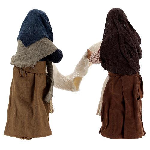 Donne con lenzuolo presepe napoletano 13 cm 5